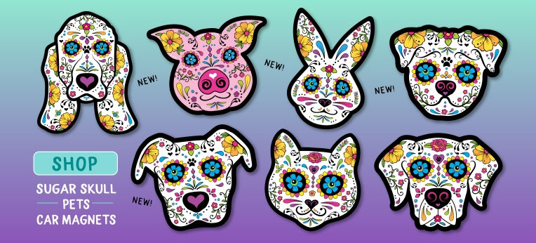 Sugar Skull Pets Car Magnets