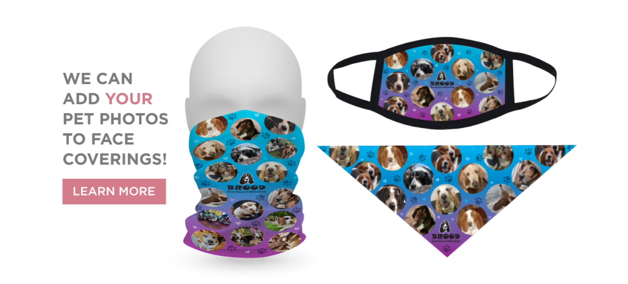 PET PHOTOS ON FACE COVERINGS