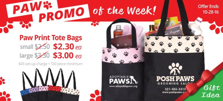Paw Promo of the Week (paw tote bags)