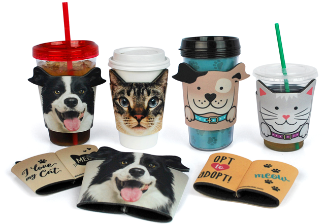 Comfort Grip Foam Drink Sleeve In Dog And Cat Shapes For Use On Hot Or Cold Beverages Made To Order We Can Change Art Colors Meet Your Needs